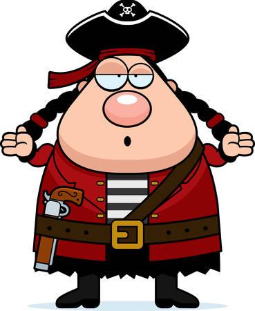 pirata mujer: Una mujer pirata de dibujos animados con una expresión confusa.