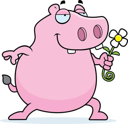 A happy cartoon hippo with a flower. 向量圖像
