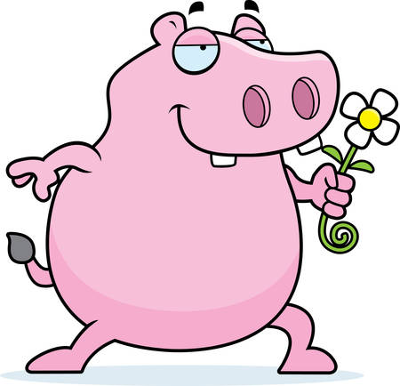 A happy cartoon hippo with a flower. Illustration