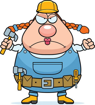 grouchy: A cartoon woman construction worker with an angry expression.