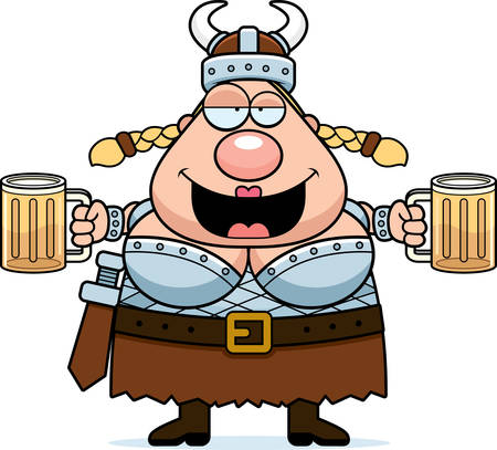 A happy cartoon Viking Valkyrie drunk and smiling. Illustration