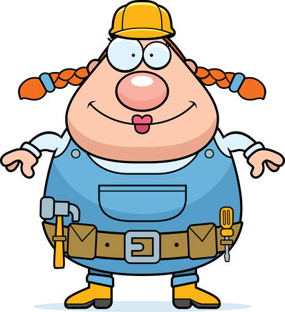 A happy cartoon woman construction worker standing and smiling.