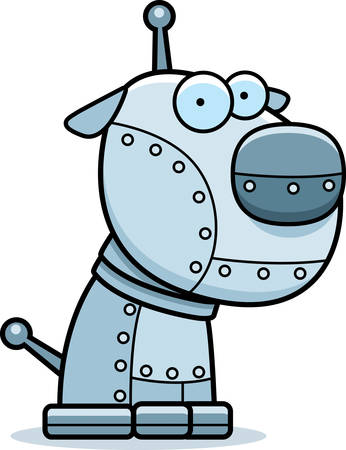 A cartoon metal robot dog sitting.