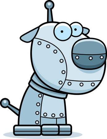 Een cartoon metalen robot hond zitten. Stock Illustratie