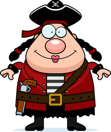 woman standing: A happy cartoon pirate woman standing and smiling. Illustration