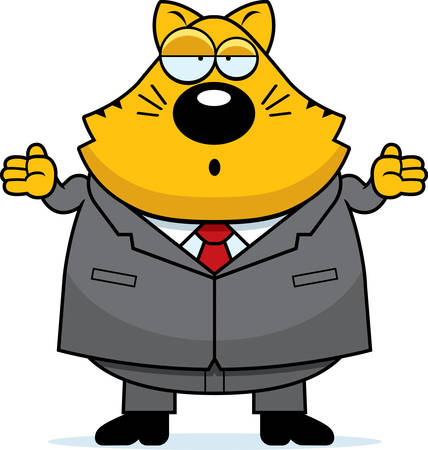 A cartoon fat cat with a confused expression. Illustration