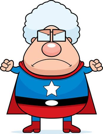 frowning: A cartoon superhero grandma frowning and looking angry. Illustration