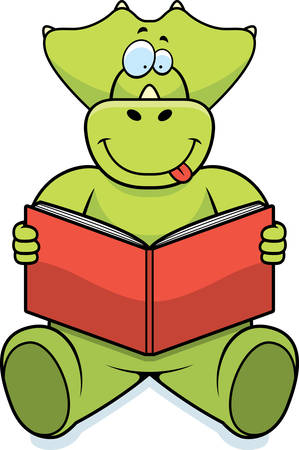 A cartoon dinosaur reading a book and smiling. Иллюстрация