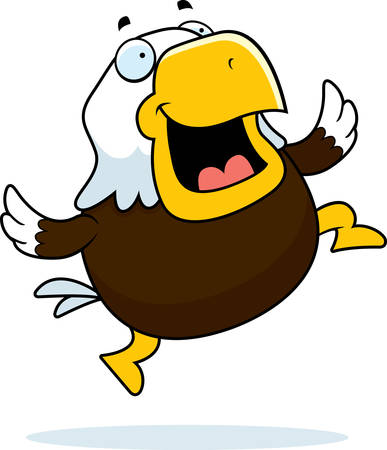 eagle flying: A happy cartoon bald eagle jumping and smiling. Illustration