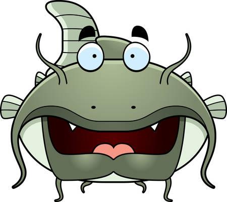 catfish: A green cartoon catfish swimming.