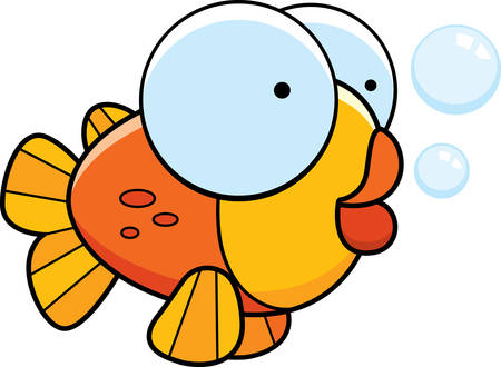 fishes: A little cartoon orange fish with bubbles. Illustration