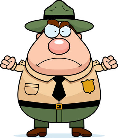 A cartoon park ranger with an angry expression.