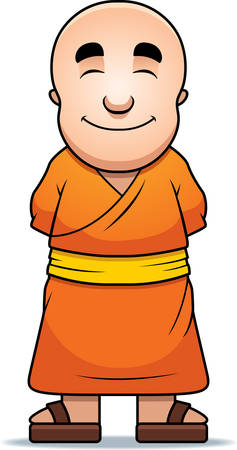 A happy cartoon Buddhist monk standing and smiling.