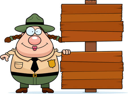 ranger: A happy cartoon park ranger with a wood sign.