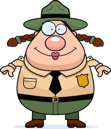 ranger: Un felice cartone animato parco ranger in piedi e sorridente. Vettoriali