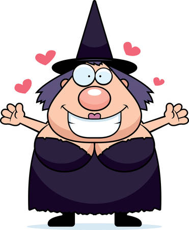 euphoric: A happy cartoon witch ready to give a hug.
