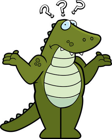 gator: A cartoon alligator looking confused and shrugging.