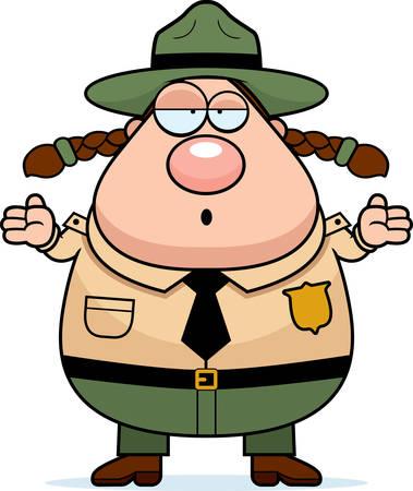 ranger: Un ranger del parco cartone animato con un'espressione confusa.