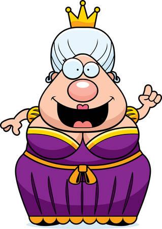 decree: A happy cartoon queen with an idea. Illustration
