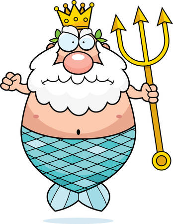 neptune: A cartoon King Neptune with an angry expression. Illustration