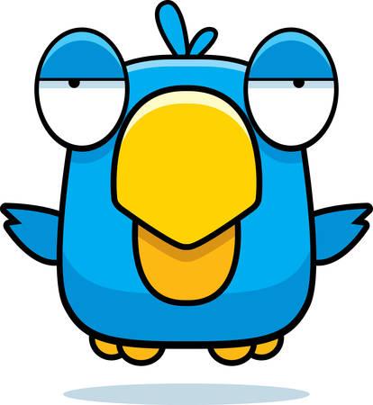 A cartoon blue bird flying in the air.