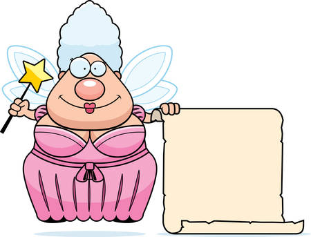 godmother: A happy cartoon fairy godmother with a list.