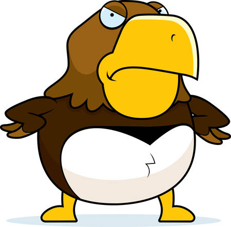 A cartoon hawk with an angry expression.