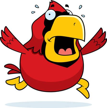 horrified: A cartoon cardinal running in a panic.