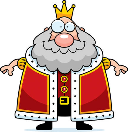guy standing: A happy cartoon king standing and smiling. Illustration