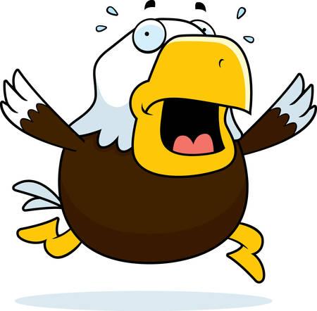 terrified: A cartoon bald eagle running in a panic.