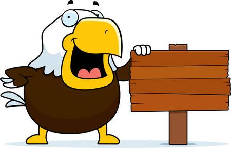 bald eagle: A cartoon bald eagle standing next to a wood sign.