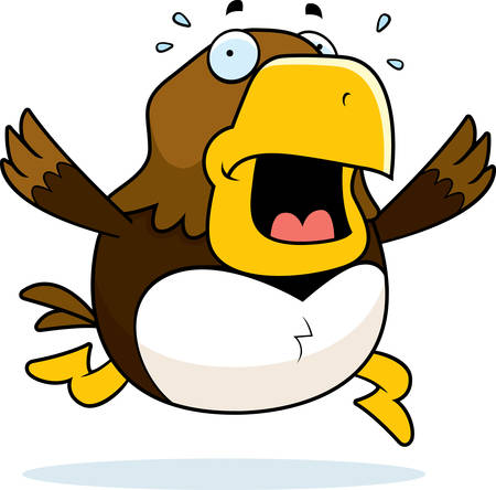 A cartoon hawk running in a panic.