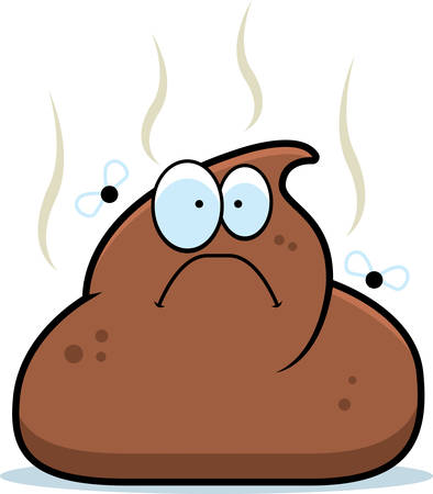 feces: A cartoon pile of brown poop with flies. Illustration