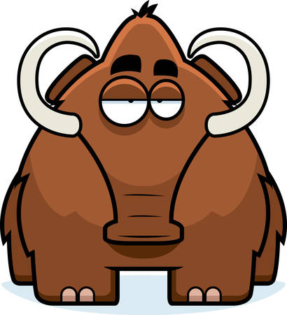 tusks: A big brown cartoon woolly mammoth standing.
