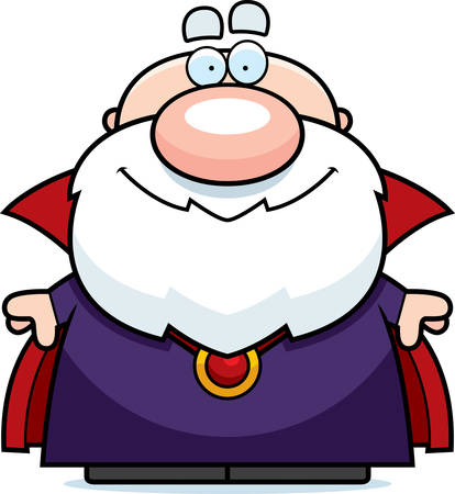 A happy cartoon wizard standing and smiling.