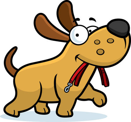 A cartoon dog walking with a leash in his mouth. 일러스트