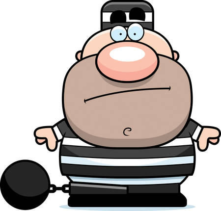 prison ball: A cartoon prisoner in a prison uniform and ball and chain.