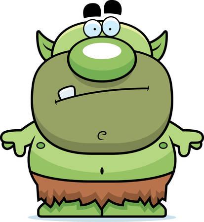 ふんどしで漫画緑ゴブリン。  イラスト・ベクター素材