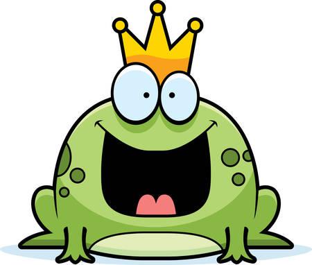 rana principe: Un príncipe rana de dibujos animados sonriente y feliz.