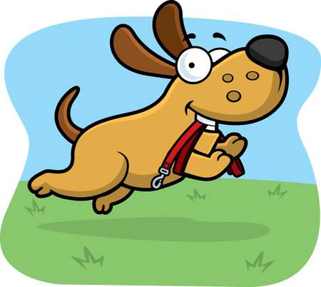 Un perro de dibujos animados que salta con una correa en la boca.