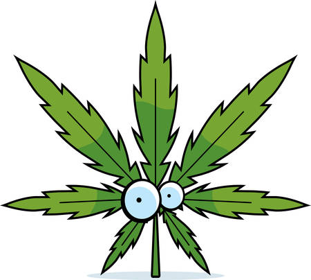 A green cartoon marijuana leaf with eyes.