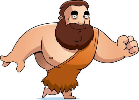 barbarian: A cartoon barbarian man walking and smiling.