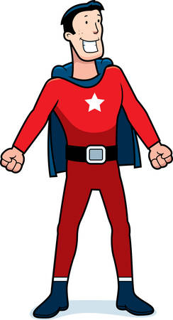 sidekick: A cartoon superhero sidekick in a red costume.