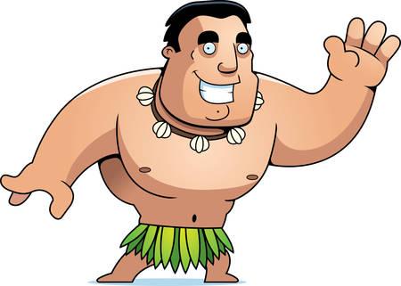 islander: A cartoon islander man waving and smiling.