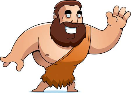 barbarian: A cartoon barbarian man waving and smiling. Illustration