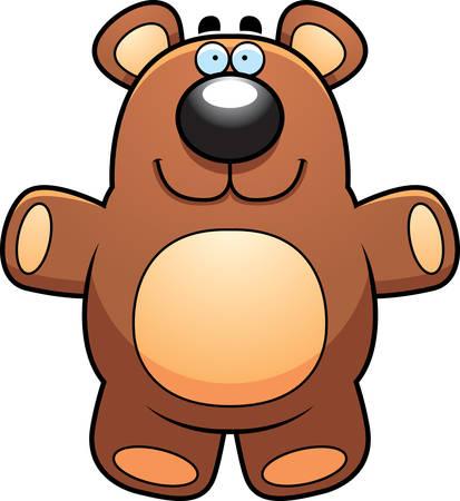stuffed: A happy cartoon stuffed teddy bear smiling. Illustration