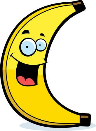 A cartoon yellow banana smiling and happy. Ilustracja