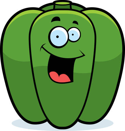 bell pepper: A cartoon green bell pepper smiling and happy.