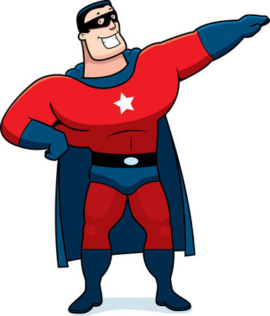 adolescent: A cartoon superhero man in a red costume. Illustration