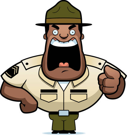 drill: An angry cartoon drill sergeant yelling and pointing.